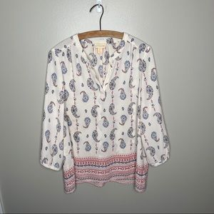 Lucy and Laurel Anthropologie White V Neck Blouse